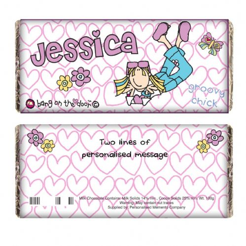 Personalised Bang on the Door Groovy Chic Chocolate Bar